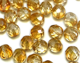 600 pcs 8mm Glass Beads Tan Champagne Round Faceted Czech Fire polished B-56