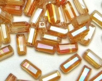 100 pcs Peach Glass Tube Beads Tan Iris 7x3 mm Czech Tube B-179