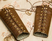 SMALL reptilian brown Bracers Cuffs with brown laces and gold grommets (PAIR)