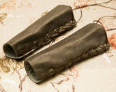 SMALL olive green Bracers Cuffs with brass and brown laces (PAIR)