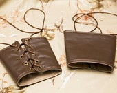 LARGE brown pleather Bracers Brass Grommets and brown Lace Cuffs Gauntlets Vanguards Cosplay Costume (PAIR)