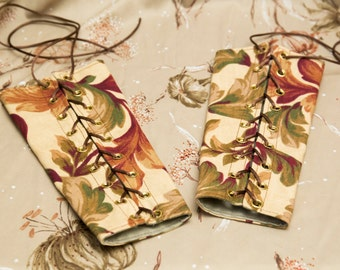 SALE! small brocade floral Bracers Cuffs with Sky Blue Laces (PAIR)