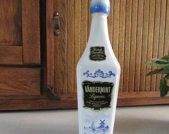 Vintage Vandermint Liqueur Bottle Decanter - Minted Chocolate Liquor Bottle - Blue and White Dutch Windmill  Scene Decorative Bottle
