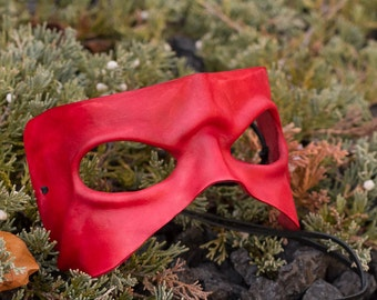 Red Frowning Leather Mask