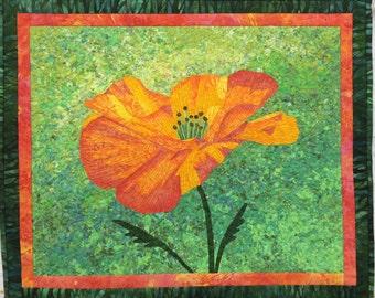 Orange Poppy II Original Fiber Art Wall Hanging by Lenore Crawford