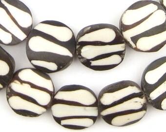 30 Batik Bone Beads Circular - Ethnic Beaded Tribal - African Tribal Beads - African Trade Beads - Cow Bone Necklace (BON-FLT-ZBR-251)