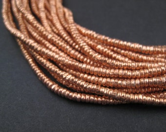 3mm Copper Heishi Beads - Ethiopian Metal Beads - African Beads - Copper Spacers - Jewelry Supplies - Made in Ethiopia (MET-HSHI-CPR-174)