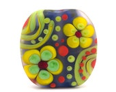 Le fleure // 1 yellow green flower lampwork bead // Michou P. Anderson
