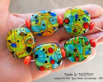 Modern Art Glass - Set of 5 free shaped focal beads -  by Michou P. Anderson