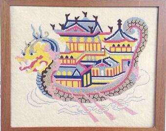 Vintage handmade needlework emnroidery dragon ship