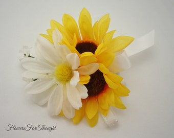 Sunflower Daisy Corsage, Fall Wedding, Prom, Homecoming, FFT design