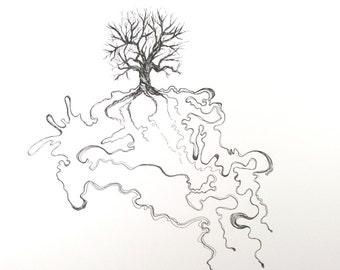 Tree No. 1 . Pen and India Ink Drawing . Nature Art . Tree Abstract Minimalist Drawing . Black and White Art