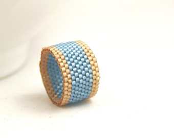 Peyote Ring . Beadweaving Ring . Bayberry Blue and Golden Wheat Seed Beads . Seed Bead Band