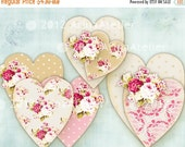 30% OFF SALE - Shabby HeartS And ROSeS download digital sheets - Digital collage Printable