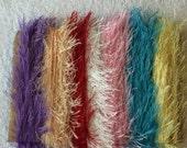 ice yarns SAMPLES fiber art bundle cards yellow lavender red white pink eyelash fun fur sparkle crochet knitting left over yarn scrap