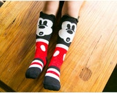 knee high DISNEY MICKEY MOUSE  socks 1 to 3T girls boys unisex cotton winter stockings fashion  kitty hello animal legging warmers