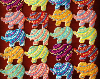 Bollywood Elephant Cookie Favors-1 Dozen  ***Minimum 2 Weeks for Delivery***