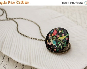 VACATION SALE Colorful Birds in a Tree Locket Necklace. Woodland Jewelry