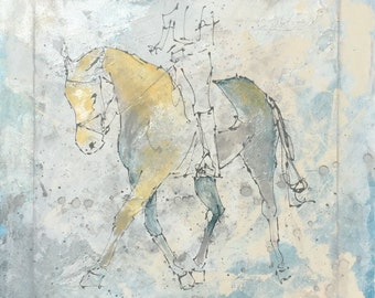 Horse painting, Equestrian canvas painting, Original fine art The Equestrian - Large 20x20 inches Original Acrylic Canvas Painting,Horse
