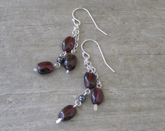 Garnet earrings red wine garnet dangle earrings on sterling silver chane made in Israel