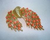 Signed Crown  Trifari Vintage Jewelry Leaf  Red Brooch