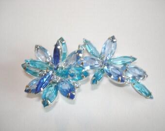 Blue Rhinestone Vintage Jewelry Brooch Silver Tone