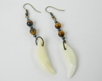 Real Coyote Teeth with Tiger Eye and Hematite Dangle Fashion Earrings