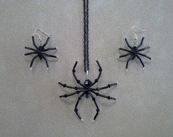 Black Beaded Halloween Goth Spider Necklace and Earrings Set