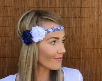 Dallas Cowboys Headband Grey Blue White Band Shabby Chic Flower Fashion Navy Hair Football Women Girl Cute Texas Star Accessories Accessory