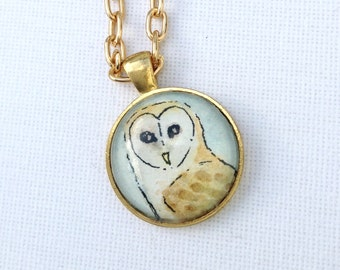 Hand Illustrated Owl Art Necklace Barn Owl Pendant on Gold Chain, Long Pendant with Peaceful Owl, Watercolor Necklace Original Art Pendant