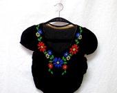 1930s Vintage Beaded Velvet Top / Black Floral Embellished Cropped Top