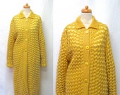 1950s / 60s Vintage Maggy Rouff Wool Knit Coat / Yellow Knotted Openwork Knit Coat