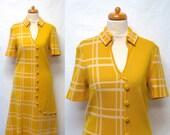 1960s Vintage Wool Jersey Dress / Yellow & White Plaid Shift Dress