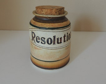 Earth Tones Pottery Resolutions Jar. Brophy Clay Things Cork Stoppered Stoneware Pot. Orlando Florida Ceramic and Cork Vessel