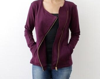 CLEARANCE - Asymmetric Jacket, Asymmetric Sweatshirt, Bamboo Fleece, Organic Cotton, Gray Grey Jacket, Purple Plum Zip Up Sweater - HANNAH