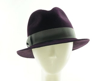 Purple Fedora Hat for Women, Womens Felt Hat, Ladies Winter Hat, Vintage Hat Styles, Womens Winter Hat, Fedora Hat Women, 1950s Hat Style