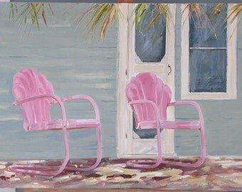 "Cottage Connection, 20"" x 30"" x 1.5"" (51 x 76 cm) original oil painting on canvas. Yvonne Wagner. Landscape. Cottage. Chair. Garden Chair."