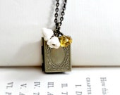 Book Necklace Floral Locket Book Locket Gift for Teacher Book Lover Gift Book Pendant