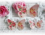 Cupid's Roses Butterfly Embellishments for Scrapbooking or Cardmaking, Tag Art,  Mixed Media, Mini Albums