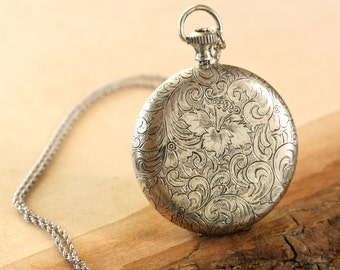 Large Antiqued Silver Locket Necklace on Long Rope Chain with Push Button, Paisley Flowers Locket, Push Button Locket, Huge Locket Pendant