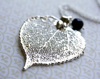 Silver Aspen Leaf Necklace, Metal Silver Leaf Pendant Long, Genuine Silver Leaf Jewelry, Long Pendant, Sterling Silver, Statement Necklace