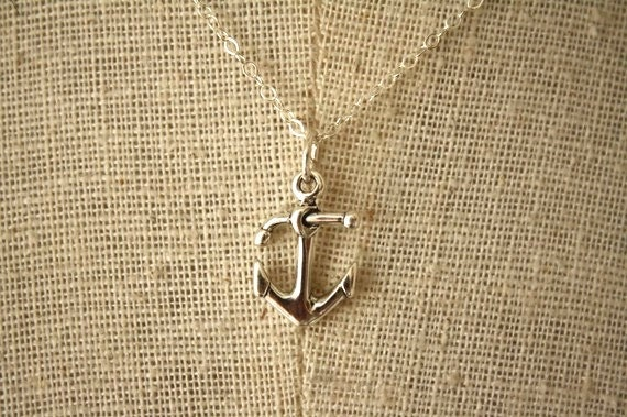 Asymmetrical Anchor Necklace, Sterling Silver, Anchor Pendant, Small Nautical Jewelry, Miniature Anchor Jewelry, Navy Necklace