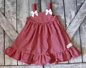 Girls Red Gingham Dress- Baby Girl Dress- Toddler Dress- Sundress- Summer Dress- Sizes 6 12 18 Months 2 3 4 5 6 7 8 Years