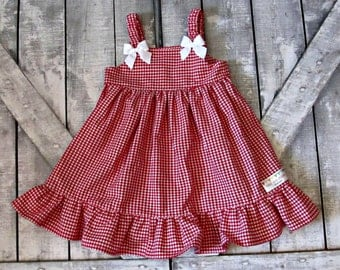 Girls Red Gingham Dress- Baby Girl Dress- Toddler Dress- Sundress- Summer Dress- Sizes 6 12 18 Months 2 3 4 5 6 7 8 Years