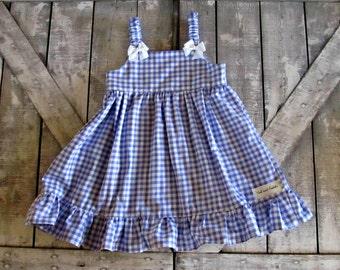 Girls Purple Gingham Dress- Baby Girl Dress- Toddler Dress- Easter Dress-Sundress- Sizes 6 12 18 Months 2 3 4 5 6 7 8 Years