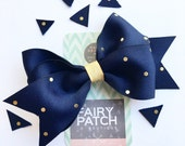 Navy hair bow, navy and gold hair bow, girls hair bows, toddler hair bows, pre teen gift idea, kids gift, kids hair clips, stocking stuffer
