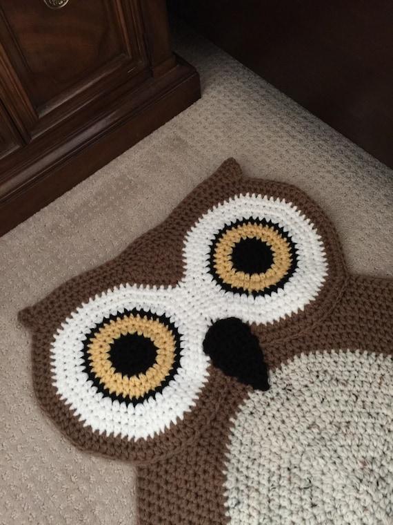 Crochet Oval Owl Rug