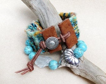 Bead and Fiber Hand Loomed Bracelet, Leather and Button Adjustable Closure, Turquoise, Woven, Cuff, Tucson Sunset, Handmade Jewelry