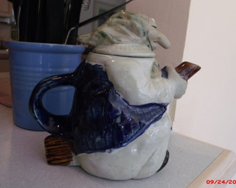 REDUCED Vintage  1980 Signed Drinkwater Kitchen Witch Teapot RARE Halloween Witch Baba Yaga