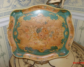 Vintage Paper Mache Tray Old World Charm Teal Green Italian Country French Tray